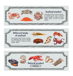 colorful hand drawn seafood horizontal banners vector image