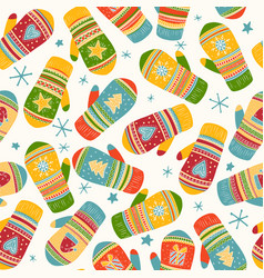 colorful mittens pattern vector image
