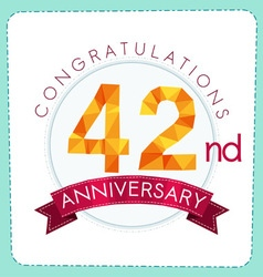 Colorful polygonal anniversary logo 3 042 vector