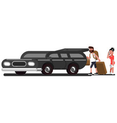 couple loads suitcases into the car vector image
