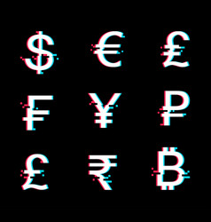 currency icon set in glitch style vector image