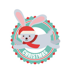 Cute animal christmas celebration card vector