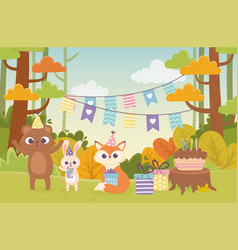 Cute animals with party hats gift cake celebration vector
