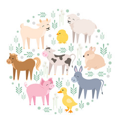 cute farm animals cow pig lamb donkey bunny vector image