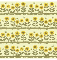 Cute sunflowers vector