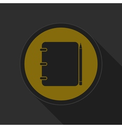 Dark gray and yellow icon - notepad with pencil vector