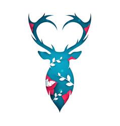 deer cartoon paper landscape vector image