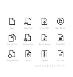 document line icons set outline symbol vector image