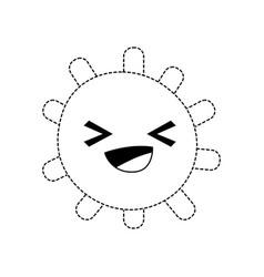 Dotted shape cheerful sun with lights ray kawaii vector