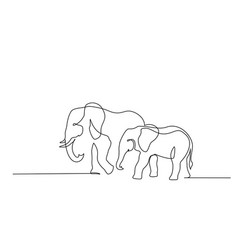 Elephant with baby symbol one line drawing vector