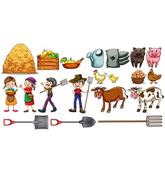 Farmers with their tools and animals vector image