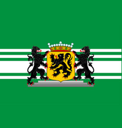 Flag of east flanders in flemish region of belgium vector