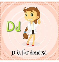 Flashcard letter d is for dentist vector