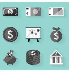 Flat icon set Money White style vector image
