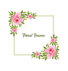 flowers square frame card template with blooming vector image