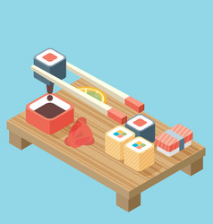 Food - sushi roll with nori modern 3d flat design vector