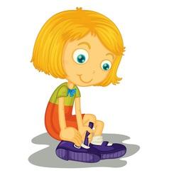 Girl buckles shoes vector