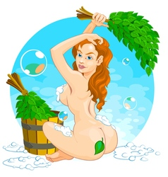 Girl in Russian Sauna vector