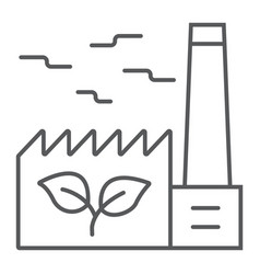 green factory thin line icon ecology and energy vector image