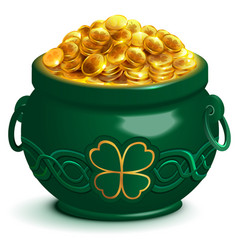 Green full pot with gold coins pot with four leaf vector