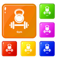 Gym metall icons set color vector