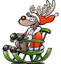 Hand-drawn of an happy Reindeer vector image