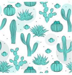 Hand drawn succulent ornament seamless pattern vector