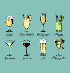hand sketched alcoholic beverages and cocktails vector image
