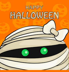 happy halloween with mummy vector image
