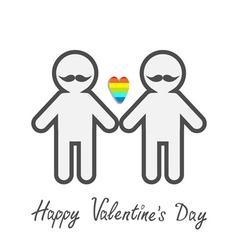 Happy Valentines Day Love card Gay marriage Pride vector