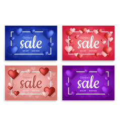 hearts sale banner set valentines day sale vector image