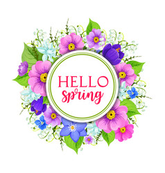 Hello spring floral frame greeting card design vector