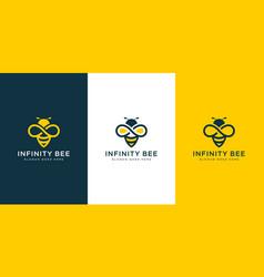 Honey bee logo with golden infinity line art vector