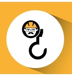 Hook man worker construction design icon vector