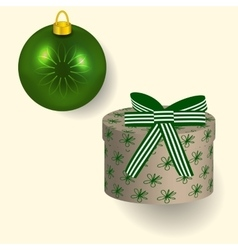 In green colors Christmas gift vector