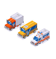 isometric automobile van transportation school vector image