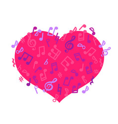 layout with flying notes and pink heart isolated vector image