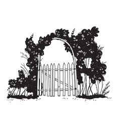 line drawing a wooden garden arch gate vector image
