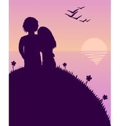 Lovers glazing sunset vector