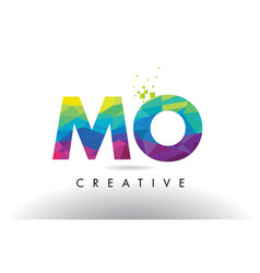mo m o colorful letter origami triangles design vector image