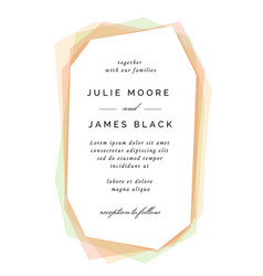 Modern colorful wedding invitation template vector