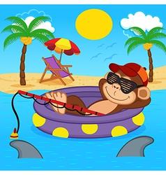 monkey fishing on sea vector image