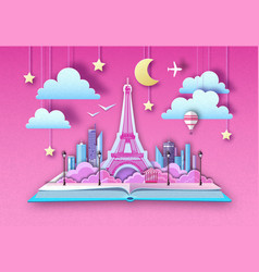 Open fairy tale book with city landscape vector