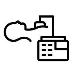 Patient defibrillator icon outline style vector
