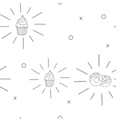 Pattern cupcake and donut fast food seamless vector