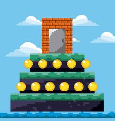 pixel game level door treasure gold coins vector image
