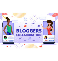 popular bloggers collaboration flat concept vector image