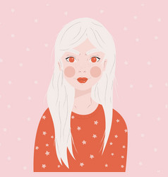 portrait a girl with long white hair in red vector image