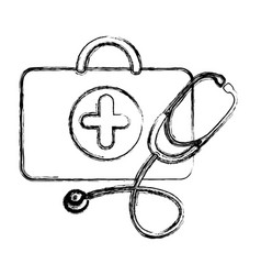 profile suitcase health with stethoscope icon vector image