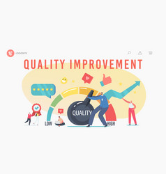 Quality improvement landing page template tiny vector